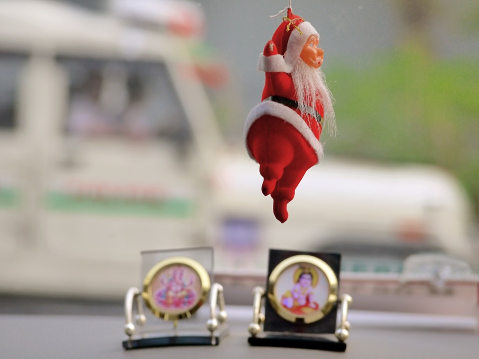 Santa hanging around with the Gods. Bagdogra.