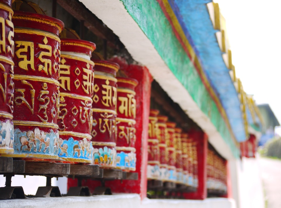 Buddhist prayer wheels. Rumtek Monastary, Gangtok.