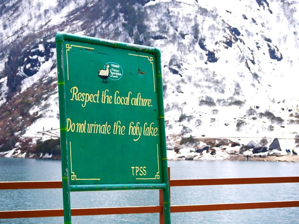 No weeing. Tsomgo Lake, Gangtok.
