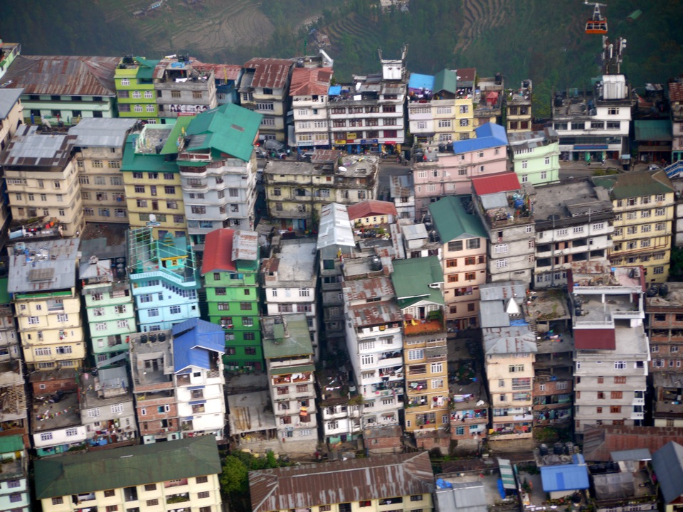Helicopter view. Gangtok.